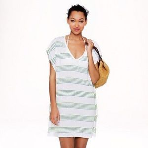 J CREW Neon Striped Tunic Beach Cover Up Dress